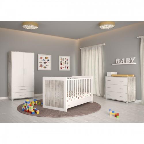Προεφηβικό Κρεβάτι Κούνια Εmily (14017) White & Grey (83x147x93) cm