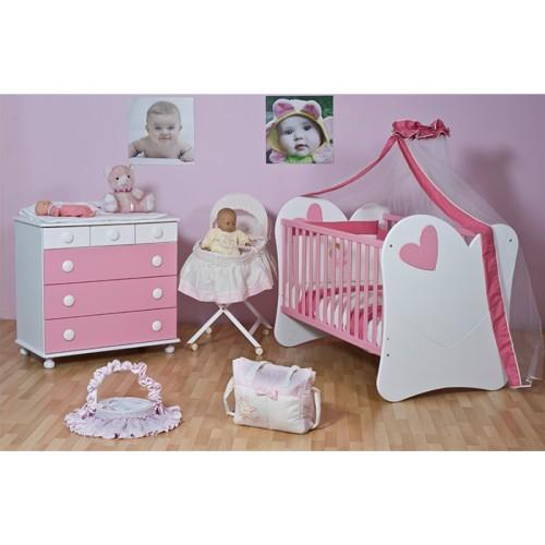 Προεφηβικό Κρεβάτι Κούνια Καρδιά White & Pink (14027) (90x147x110) cm