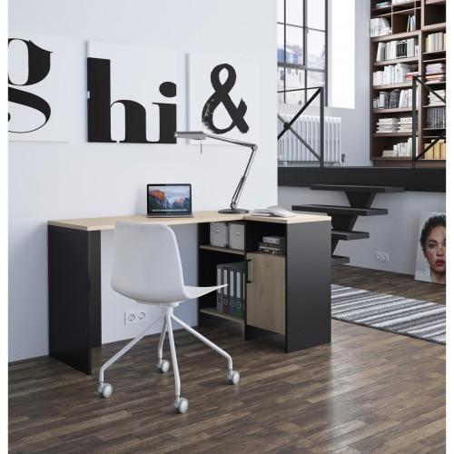 Γραφείο Γωνιακό Liverpool (136x88) cm Natural chestnut / Black