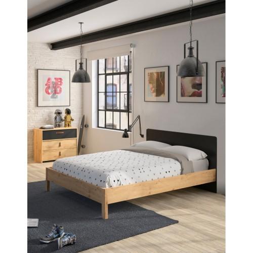 Κρεβάτι ημίδιπλο Arthus (126x207) cm για στρώμα (120x200) Artisan Oak/Black