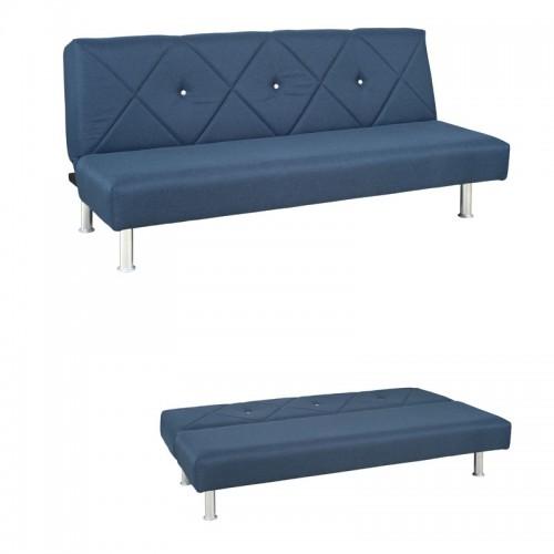 Fiesta Plus Μπλε Τριθέσιος Καναπές Κρεβάτι Microfiber (180x70) cm