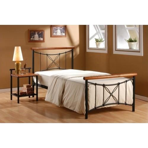 Porto Κρεβάτι Ημίδιπλο Μέταλλο & Ξύλο (110x200) cm