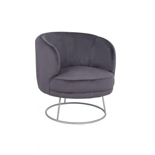 Πολυθρόνα Rien Γκρι-Βελούδο (80x75x82) cm