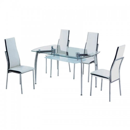 Τραπέζι SOREL (130x80) cm ΧΡΩΜΙΟΥ ΜΕ ΤΖΑΜΙ 09-0572