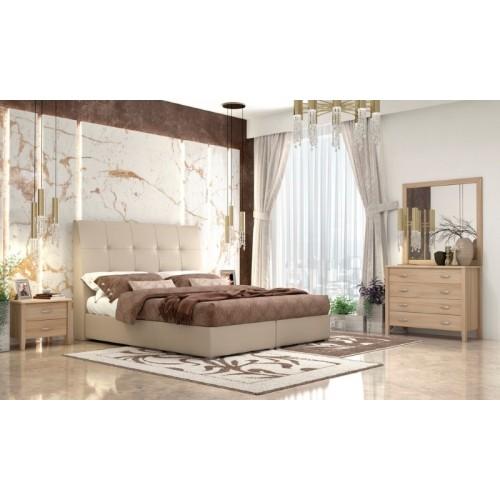 No 60 Beige Κρεβάτι Διπλό Δερματίνη με Αποθηκευτικό Χώρο (160x200) cm