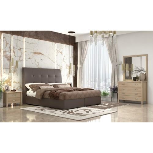 No 60 Brown Κρεβάτι Διπλό Δερματίνη (160x200) cm